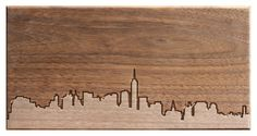 NYC skyline - hand carved walnut