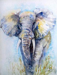 Elephant Wallpaper, Elephant Artwork, Elephant Paintings, Elephant Drawings, Watercolor Animals, Watercolor Paintings, Elephant Watercolor, Watercolour, Beautiful Scenery Drawing