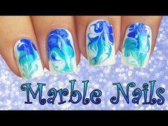 ¡Uñas Efecto MARBLE Fácil y Sin Agua! - Blue DRY MARBLE Nail Art! - YouTube