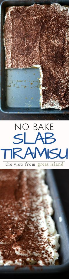 No-Bake Slab Tiramisu ~ this cool and creamy tiramisu cake recipe is an effortless way to satisfy a crowd ~ layer it up, and let it hang out in the refrigerator, it'll get better as it sits! Mini Desserts, Frozen Desserts, No Bake Desserts, Easy Desserts, Delicious Desserts, Yummy Food, Icebox Desserts, Italian Desserts, Italian Recipes