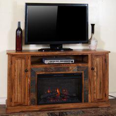 "Sunny Designs Sedona 60"" Fireplace Media Console w/ 26"" Firebox & Slate - Conlin's Furniture - TV or Computer Unit Montana, North Dakota, South Dakota, Minnesota, and Wyoming"