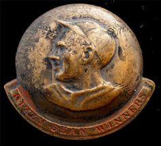Vintage Dizzy Dean Winners Badge Pin Baseball Sports Memorial Red Enamel Brooch