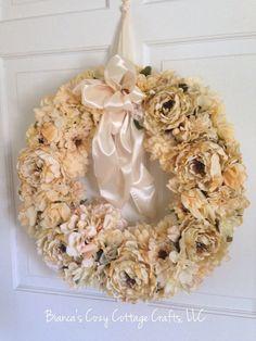 Door decor door hanger wreath flower wreath by BsCozyCottageCrafts #etsyspecialT #integrityTT #etsymntt