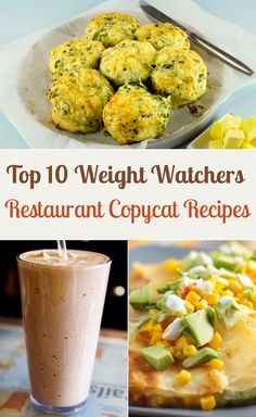 Top 10 Weight Watchers Restaurant Copycat Recipes including Red Lobster Cheddar Bay Biscuits, Olive Garden Zuppa Toscana, Wendy's Frosty, Outback Alice Springs Chicken, Chipotle Barbacoa, Chili's Guiltless Chicken Sandwich, Applebee's Veggie Quesadilla, P.F. Chang's Asian Chicken Lettuce Wraps, and Starbuck's Cranberry Bliss Bars