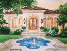 Watercolor Projects, Watercolor Artwork, House Paintings, First Home Gifts, Realtor Gifts, House Illustration, House Drawing, Custom Paint, Pet Portraits