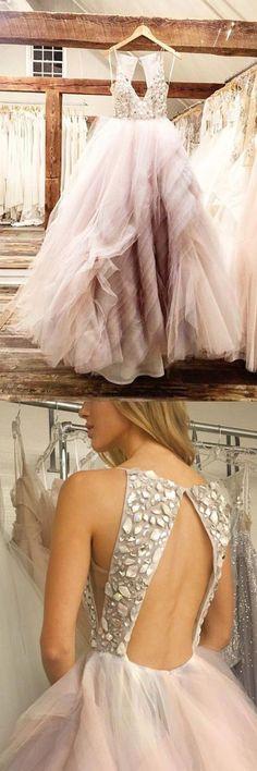 Elegant pink prom dress, spaghetti straps backless prom