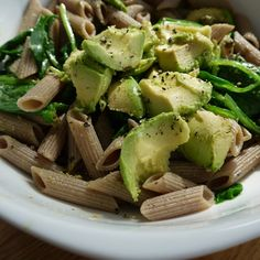 biona spelt pasta with avocado and spinach