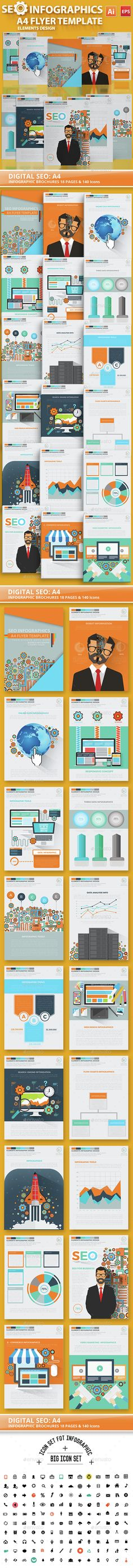 Digital SEO Infographic Elements Design — Vector EPS #social media #icon • Available here → https://graphicriver.net/item/digital-seo-infographic-elements-design/14933158?ref=pxcr
