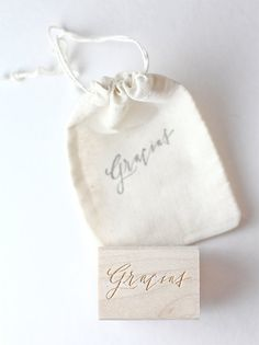 Hand-lettered gracias hand stamp modern by BesottedBrand on Etsy