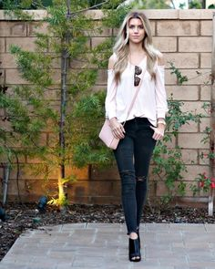 PInk and black spring outfit. Express top, Old Navy jeans, Michael Kors purse