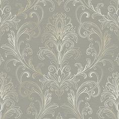 Linear Damask Wallpaper Dove Gray/Pearl Double Roll