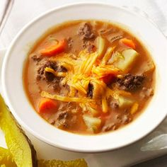 Cheeseburger Soup--note there is duplication in this recipe -- beef broth and cheddar cheese soup is in the recipe twice.....omit the duplication and enjoy...super good.