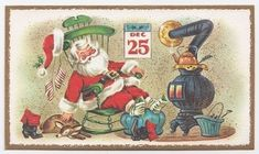 Santa taking a rest after delivering toys - vintage Christmas greeting card image Christmas Greeting Cards Images, Vintage Christmas Images, Vintage Greeting Cards, Retro Christmas, Vintage Holiday, Christmas Art, Christmas Greetings, Vintage Halloween, Christmas Things