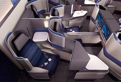 United Airlines launches new Polaris business class seats lounges - Australian Business Traveller First Class Plane, First Class Flights, Flying First Class, Airplane Seats, Airplane Travel, Aircraft Design, Aircraft Interiors, Car Interiors, Airplane Interior