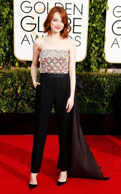 Emma Stone 2015 golden globes red carpet