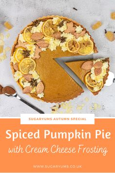 The most delicious autumn spiced pumpkin pie with fragrant spices, smooth and creamy interior, spiced crust and cream cheese frosting. www.sugaryums.co.uk No Bake Desserts, Easy Desserts, Delicious Desserts, Dessert Recipes, Spiced Pumpkin, Pumpkin Spice Latte, Most Popular Desserts, Dump Truck, Cream Cheese Frosting