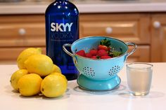 Strawberry Lemonade vodka Ingredients 1 cup sugar 1 cup water 1 pint fresh strawberries 1 cup fresh lemon juice (about 8 lemons) cups cold water 1 cup vodka, optional Vanilla Vodka Drinks, Skyy Vodka, Vodka Cocktails, Vodka Martini, Flavored Alcohol, Infused Vodka, Vodka Strawberry Lemonade, Strawberry Puree, Summer Drinks