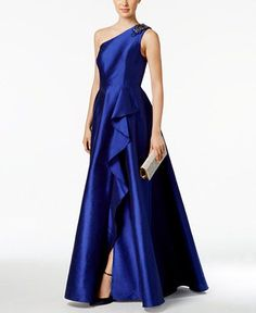 Adrianna Papell Draped One-Shoulder Faille Gown