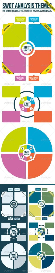 SWOT Analysis Theme x 3 SWOT analysis is the famous strengths and weaknesses -analysis planning method often presented as 2×2 matrix. Here's the three different SWOT analysis images in three color themes to make your SWOT analysis to pop at the business meeting or presentation. http://startupstacks.com... - free download #infographics