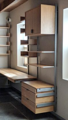 The wall-mounted, modular furniture system, as a desk corner configuration shown in sold white oak & cold-rolled steel by Atlas Industries furniture Diy Furniture Renovation, Diy Furniture Cheap, Diy Furniture Hacks, System Furniture, Modular Furniture, Furniture Layout, Furniture Arrangement, Furniture Plans, Furniture Decor