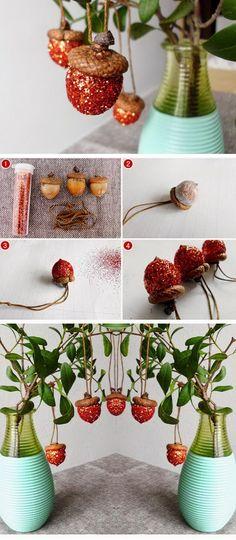 DIY Glitter Acorn Ornaments.