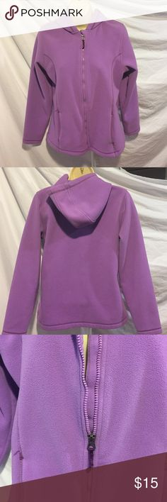 Lands End Kids size XL (26) fleece hooded jacket Soft, cozy, and Lands End!  Pretty purple color, zipper works great, has a hood.  Gently pre owned. Lands' End Shirts & Tops Sweatshirts & Hoodies