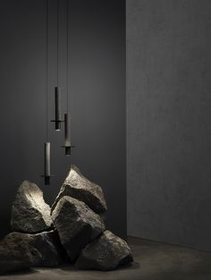 Mexico City design studio Davidpompa has created a black pendant lamp from volcanic rock more commonly used to make bowls for smashing avocado Stone Interior, Home Interior Design, Modern Interior, Lamp Design, Lighting Design, Design Design, Design Table, House Design, Lampe Art Deco