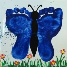 Child's footprints on ceramic tile. Adorable Mother's/Father's day gift.
