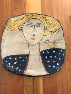 Ceramic plate hand made woman Pottery Plates, Slab Pottery, Pottery Art, Ceramic Spoons, Ceramic Decor, Ceramic Art, Wood Sculpture, Sculptures, Clay Plates