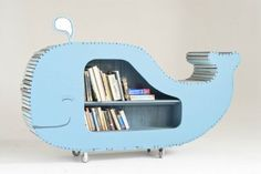 Whale bookcase - Awesome for a kid's playroom! Creative Bookshelves, Kids Bookcase, Childrens Bookcase, Bookshelf Diy, Bookshelf Design, Bookcases, Kid Spaces, Inspired Homes, Reading Nooks