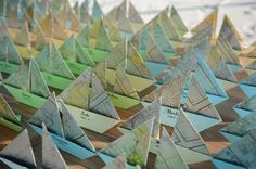 DIY origami boat name cards made out of maps Nautical Wedding Theme, Nautical Party, Name Place Cards, Name Cards, Oragami, Diy Origami, Origami Sailboat, Boracay Island, Vintage Maps