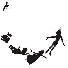 Peter Pan, Tinker Bell and Wendy, John, and Michael Darling and flying. black and white silhouette by SweetSisters Silhouette Tattoos, Silhouette Art, Silhouette Projects, Silhouette Pictures, Princess Silhouette, Peter Pan Silhouette, Tinker Bell Silhouette, Disney Peter Pan, Peter Pan And Tinkerbell