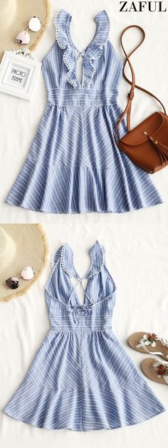 Up to 80% OFF! Striped Ruffle Criss Cross Back Mini Dress. #Zaful #Dress Zaful,zaful outfits,zaful dresses,spring outfits,summer dresses,Valentine's Day,valentines day ideas,super bowl,saint patrick, st patricks,easter, easter ideas,cute,classy,dress,long dress,maxi dress,mini dress,long sleeve dress,flounced dress,vintage dress,casual dress,lace dress,boho dress, flower dresses,maxi dresses,floral dresses,long dress,party dress,bohemian dresses,floral dress @zaful Extra 10% OFF Code:ZF2017