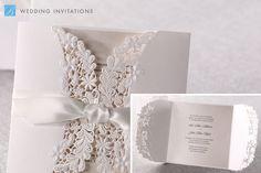 Laser Cut Floral Wrap Invitation by B Wedding Invitations