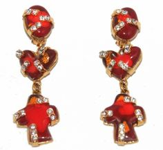 Christian Lacroix - Long Red/Strass Earrings - circa 1980 - Vintage Christian Lacroix - Katheley's