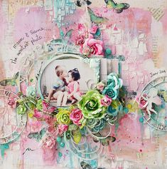 Hello! I have a few layouts to share today. 2 for my February 2 Crafty post and the other a Shimmerz project.The first one today is a super sweet pageof my Mason and my BFF's little girl. We don'