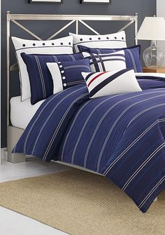 Nautica Brindley Comforter and Duvet Cover Sets - Bedding Collections - Bed & Bath - Macy's Twin Comforter Sets, Duvet Sets, Duvet Cover Sets, Navy Bedding, Blue Duvet, Plaid Comforter, Coastal Bedding, Pottery Barn, Scrappy Quilts