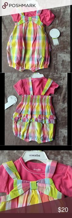 NWT Infant 2-Piece Set NWT Infant 2-Piece Set; Bow Front; Ruffle Bum; Shirt and Shorts Romper; 60% Cotton 40% Polyester Absorba Other