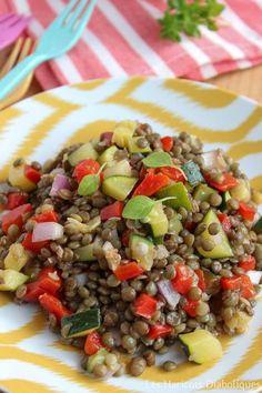 Salade de lentilles aux courgettes et poivrons