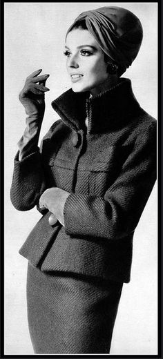 1963 Model in elegant wool suit with stand-up collar, by (Jules Crahay) Lanvin, photo by Georges Saad