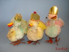 3 Vintage Easter Chenille Royal Ducks Crown Party Hat Jewelry   eBay