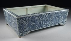 Antique Chinese Porcelain Blue & White Floral Decorated Planter Scholars Pot