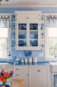 sunny blue and white cottage kitchen