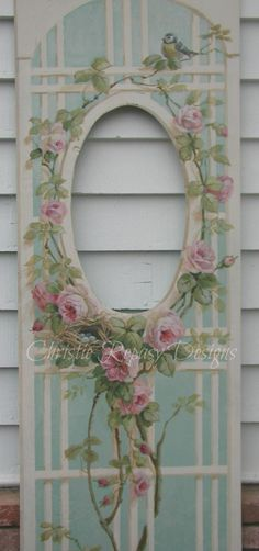 C.Repasy~ painted rose lattice for my booth at The Vintage Marketplace show March 1st,2nd&3rd 2023