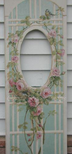 Rose lattice painted door panel…