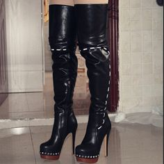 (88.31$)  Watch here  - Original Intention Sexy Women Over the Knee Boots Platform Round Toe Thin Heels Boots Black Shoes Woman US Size 4-10.5
