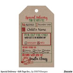 Special Delivery - Gift Tags from Santa - North Pole - Pack Of Gift Tags