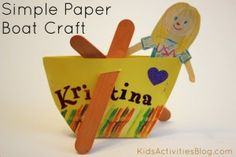 Nursery rhyme crafts for toddlers - row row row your boat also put out bridge/boat for play
