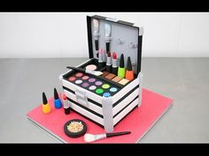MakeUp Cosmetics Box Cake Nail Polishes & Lipsticks Toppers How To by Cakes StepbyStep - YouTube