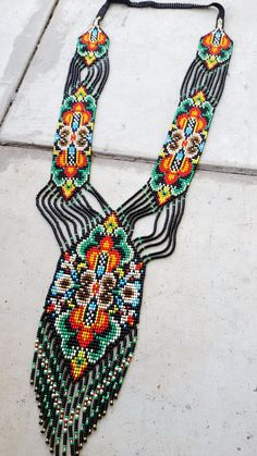 Items similar to bead necklace gerdan fringe necklace necklace seed bead, bead loom necklace, Long necklace, native american style on Etsy Seed Bead Patterns, Beaded Bracelet Patterns, Woven Bracelets, Seed Bead Bracelets, Beading Patterns, Seed Beads, Stretch Bracelets, Fringe Necklace, Seed Bead Necklace
